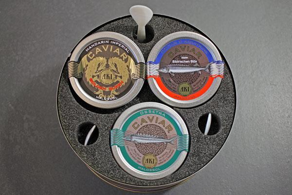 AKI Caviar Trio 3x10g Caviar und 3 Perlmutlöffel
