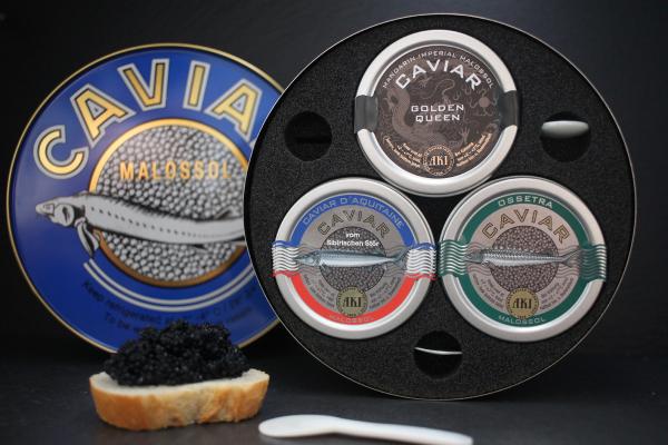 AKI Caviar Trio 3x30g Caviar und 3 Perlmutlöffel